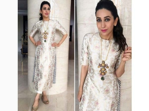 Karisma Kapoor Wearing Raw Mango Suit For An Event In Kochi