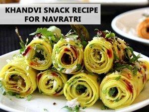 Khandvi Snack Recipe For Navratri   Simple Snack Recipe For Durga Puja