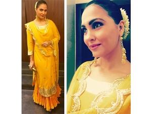 Lara Dutta Wearing Sukriti Aakriti Yellow Suit