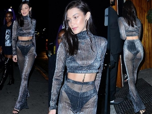 Bella Hadid Shows Off Her Panties On New Years Eve