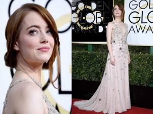 Emma Stone Wearing Valentino Golden Globes