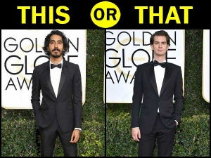Dev Patel Andrew Garfield Fashion Faceoff At Golden Globes