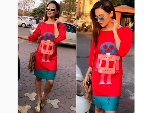 Sana Khan Looked Great Wearing Red Summery Outfit