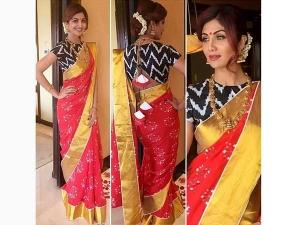 Shilpa Shetty Wearing Traditional Saree In Bangalore To Get An Award