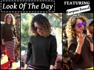 Look Of The Day Kangana Ranaut Wearing Striped Skirt Rangoon Promotion