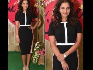 Sania Mirza Wearing Black And White Dress