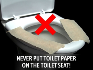 Never Put Toilet Paper On The Toilet Seat
