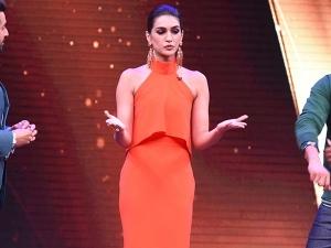 Kriti Flaunts Her Tangerine Twist At Raabta Promotions