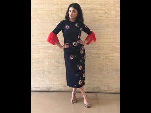 Shruti Haasan Goes All Black In A Shahin Mannan Black Midi Dress