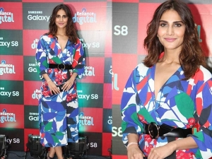 Multi Hued Look Of Vaani Flaunting It At A Mobile Phone Launch