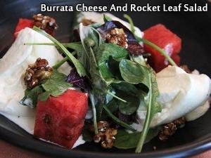 Burrata Cheese And Rocket Leaf Salad Crispy Curry Leaf Dressing