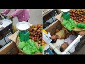 Parents Sell Fruits Children Inside Cart