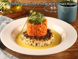 Grilled Cottage Cheese Steak With Tomato Risotto