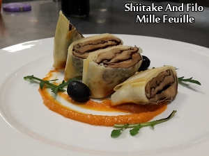 Shiitake And Filo Mille Feuille With Red Pepper Pesto
