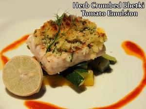 Herb Crumb Bhetki With Tomato Emulsion Sauce
