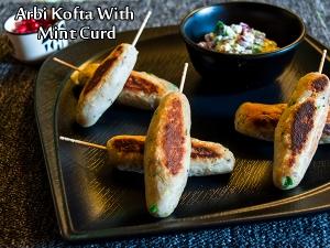 Arbi Kofta Recipe With Dahi Ke Dip Recipe