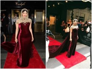Peecee Nailed The Met Gala 2018 Theme A Wine Red Costume