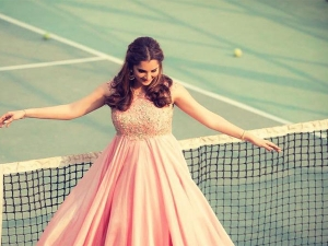 Sania Mirza Looks Dreamy A Gown This Time She Poses On Tenni