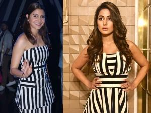 Hina Khan Anushka Sharma S Similar Black White Outfits