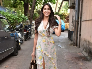 Nora Fatehi Spotted A Floral Dress Photoshoot