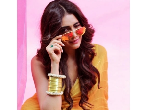Karishma Tanna Yellow Sari Photoshoot