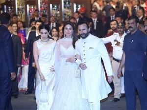 Karisma Kareena Saif Ivory Outfits At Isha Ambani S Wedding