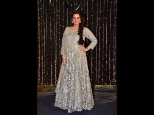 Sania Mirza An Ivory Anarkali Priyanka Chopra S Wedding Reception