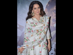 Kangana Ranaut A Floral Dotted Suit The Special Screening Manikarnika