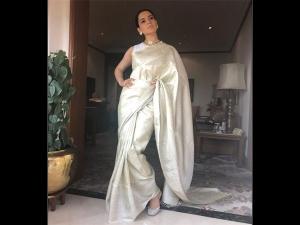 Kangana Ranaut Opted An Ivory Sari The President S Screening