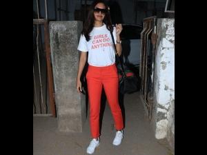 Esha Gupta A White Red Outfit Celeb Spotting