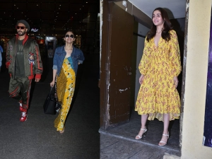Alia Bhatt Yellow Dresses Gully Boy Screening At Airport