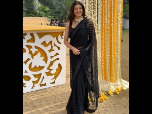Sushmita Sen A Black Neeta Lulla Sari At Wedding Delhi