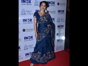 Kangana Ranaut A Floral Blue Sari Manikarnika Screening