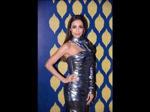 Malaika Arora A Halter Metallic Dress At The National Jewellery Awards