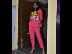 Kubbra Sait A Pink Pantsuit At The Gully Boy Screening