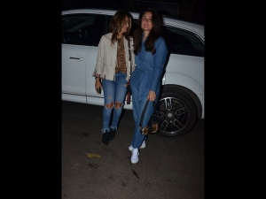 Kareena Kapoor Khan Spotted A Denim Jumpsuit With Amrita Arora