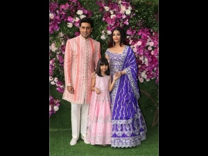 Abhishek Aishwarya Aaradhya Bright Outfits The Wedding