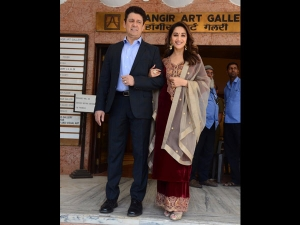 Madhuri Dixit Spotted A Velvet Suit With Her Husband