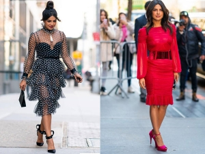 Priyanka Chopra Jonas A Polka Dotted Red Dress Photoshoot