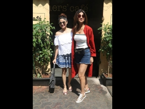 Shilpa And Shamita Shetty Spotted In Casual Skirt And Top