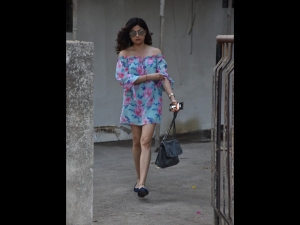 Shamita Shetty Spotted In A Blue And Pink Floral Dress