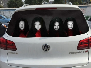 Chinese Drivers Try To Deter Nighttime High Beam Use With Scary Decals