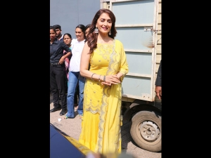 Madhuri Dixit Nene In A Yellow Sharara For Kalank Promotions