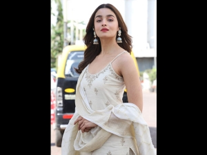Alia Bhatt In An Ivory Anita Dongre Outfit For Kalank Promotions