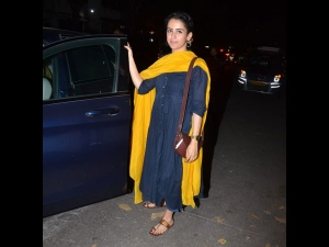 Sanya Malhotra Snapped In A Denim And Yellow Suit