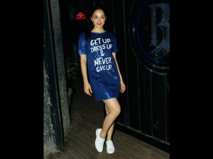 Kiara Advani In A Blue Dress For The Wrap Up Party Of Kabir Singh