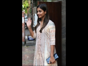 Pooja Hegde Spotted In A Simple Ethnic Suit