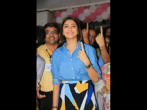 Anushka Sharma In A Smart Outfit At The Voting Booth