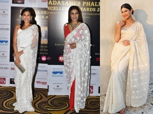 Kubbra Sait Kajol Aahana Kumra In Ivory Saris At The Dadasaheb