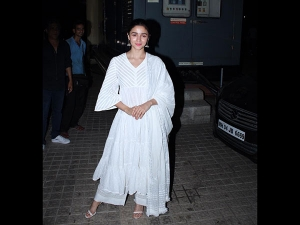 Alia Bhatt In A White Suit For The Kalank Screening